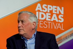Aspen Institute President and Chief Executive Officer Walter Isaacson questions U.S. Secretary of State John Kerry after he addressed attendees at the Aspen Ideas Festival on June 28, 2016, at the Greenwald Pavilion at the Aspen Meadows Resort in Aspen, Colorado. [State Department photo/ Public Domain]