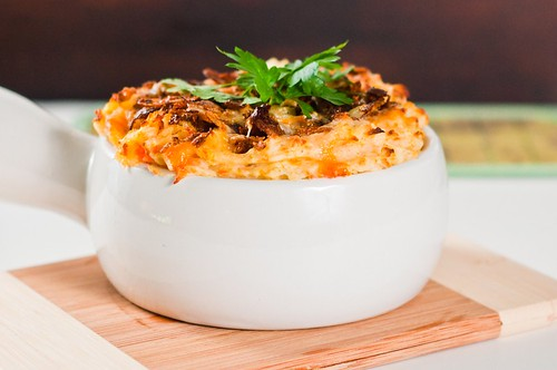 Carrot Mashed Potatoes with White Cheddar Crust