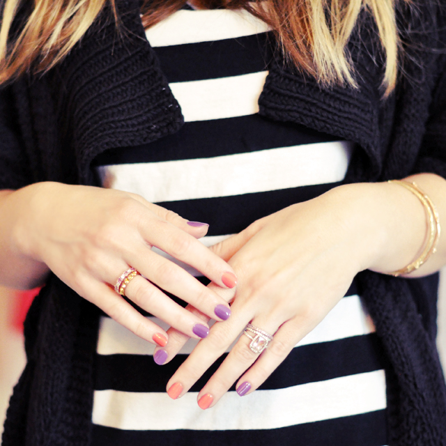 coral and purple nails - rings-hands-stripes