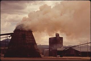 """""""Teepee"""" burner incinerates lumber mill's waste, 05/1972."""
