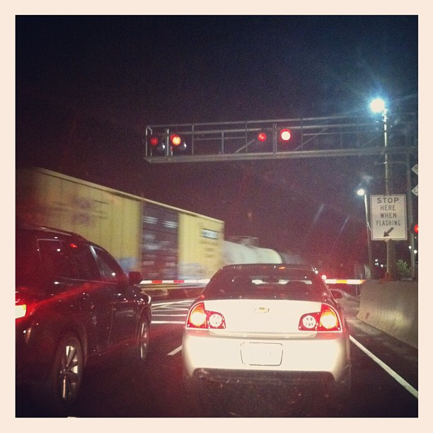 Stuck at a train crossing. Fun!!