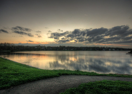 sunset lake water indiana hdr hvl