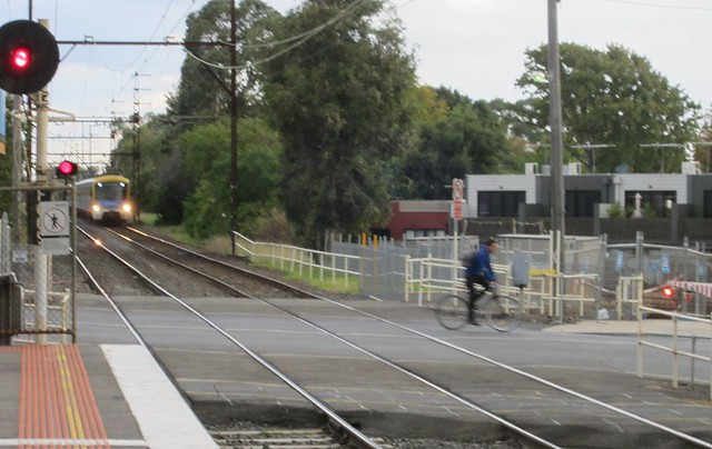 Cyclist risks death riding out in front of train (2/2)