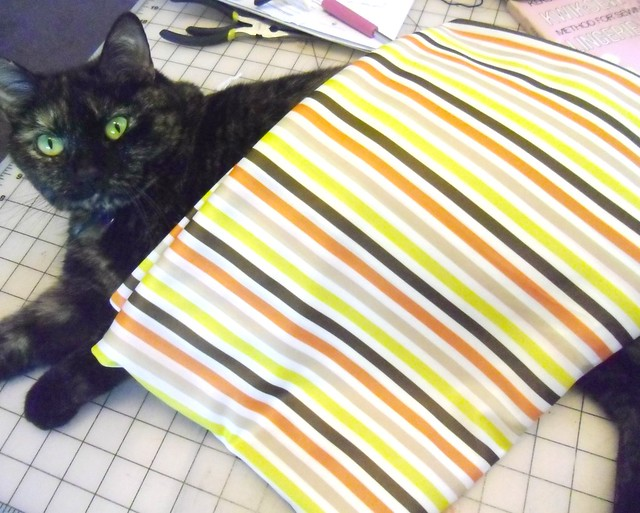 Stripey poly stretch fabric