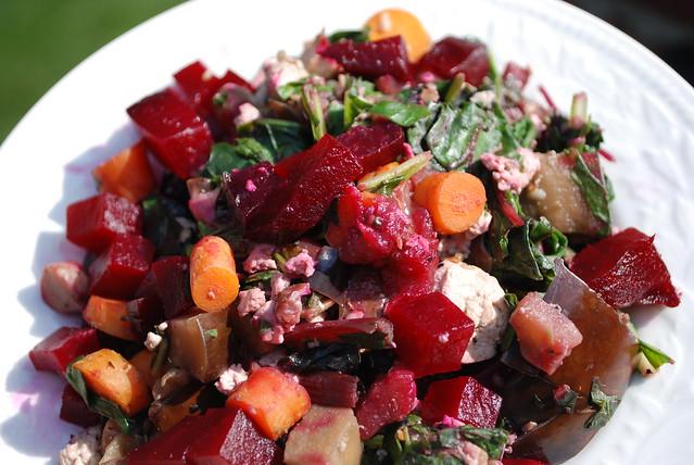 Leeks, Eggplant, Beets, Garbanzo Beans, Carrots, Herbs, Shiitake Mushrooms, Greens, Tofu, Satay Sauce