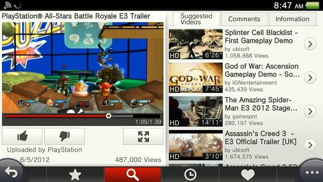 Official YouTube app lands for Sony PS Vita