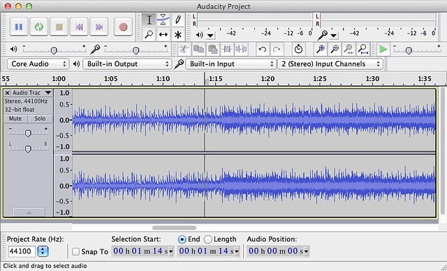 Audacity running on Mac