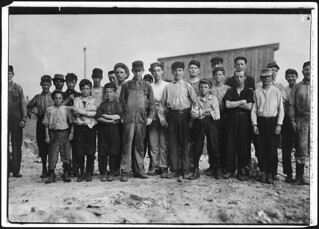 A few of the young boys working on the night shift at the glass factory, June 1911