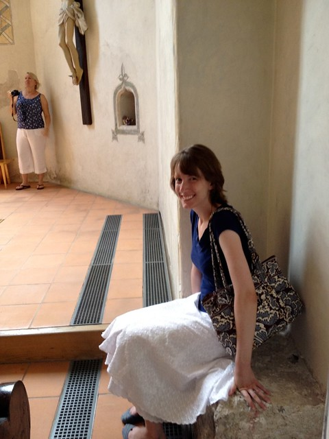 Tour manager Jen G. sits down for a moment in the chapel of Ljubljana Castle