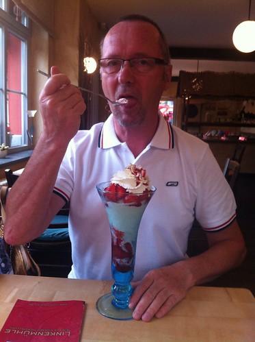 Dad enjoying a small Strawberry Eisbecher