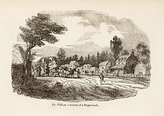"""Illustration """"Village — Arrival of a Stage-coach"""" from The Backwoods of Canada by Catherine Parr Traill (1838)"""