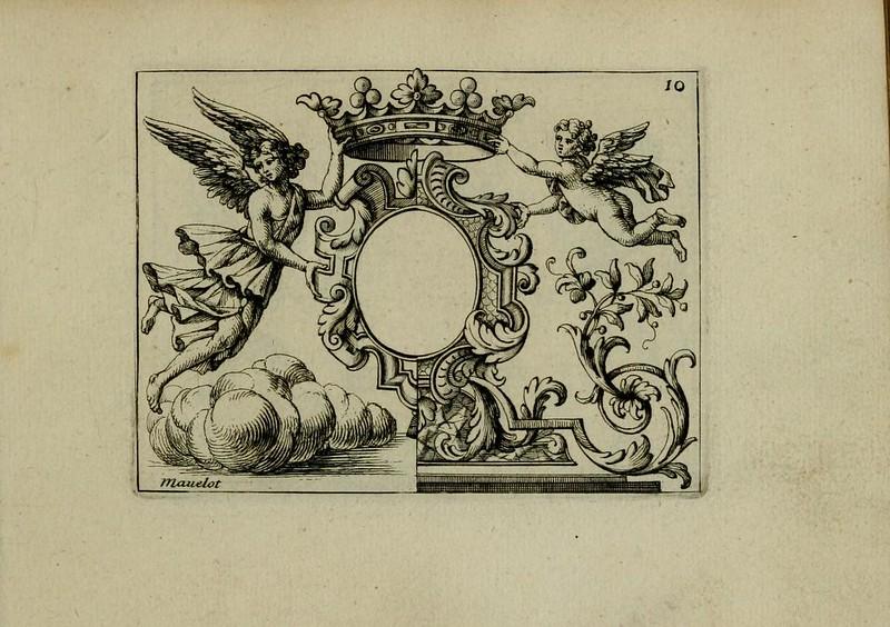 Diseño heráldico del siglo XVII, aparece en Nouveau Livre de Differens Cartouches, Couronnes, Casques, Supports et Tenans, grabados de Charles Mavelot (1695).