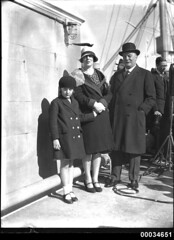 Three people at a Movietone event on board SS SIERRA