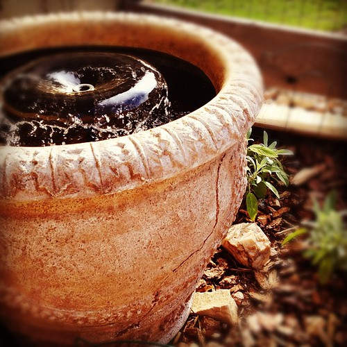 Our homemade #garden fountain- using a simple fountain pump kit in a salvaged resin pot