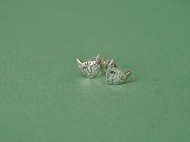 tiny cat earrings