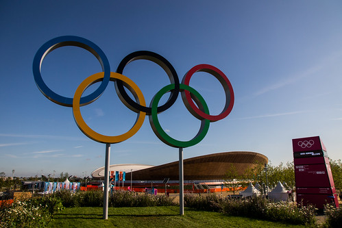 Olympic Rings with Velodrome behind