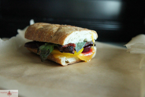 Beet, Bacon and Basil Grilled Cheese Sandwich
