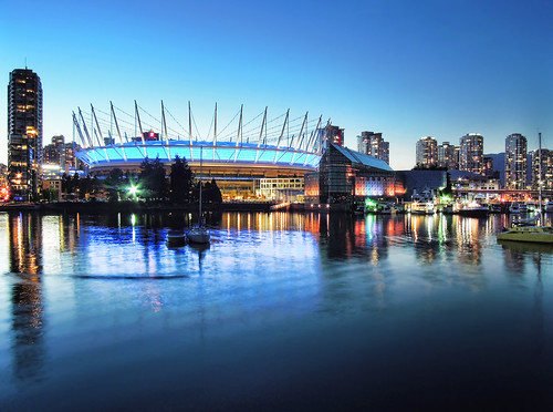 canada vancouver bay bc nighttime yaletown falsecreek bluehour bcplace beautifulbc magicunicornverybest magicunicornmasterpiece