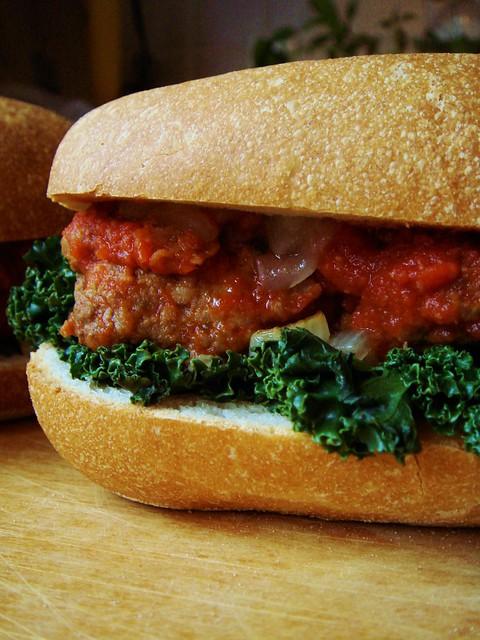 Meatball Sub with Kale & Onion