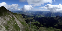 03 Panorama from the top station of the Moleson cable car looking towards Gruyere. August 2012