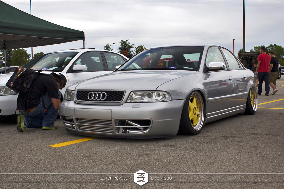 silver audi b5 a4 s4 2.7tt at midwest treffen 2012 3pc wheels static airride low slammed coilovers stance stanced hellaflush poke tuck negative postive camber fitment fitted tire stretch laid out hard parked seen on klutch republik