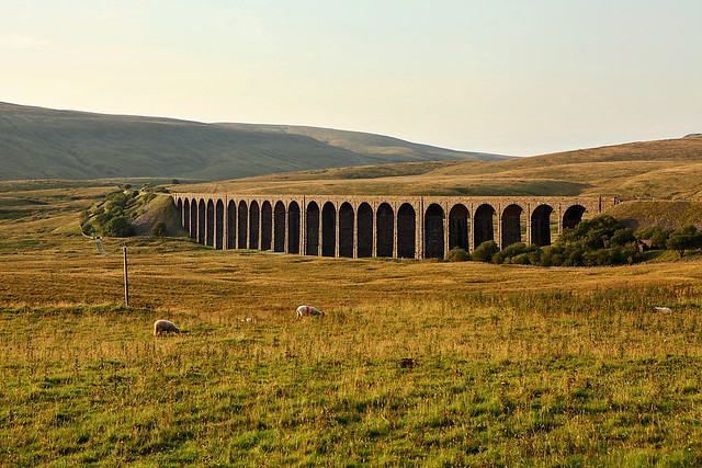 Amazing piece of engineering, ribblehead viaduct in the yorkshire dales - photo taken in the evening sun light