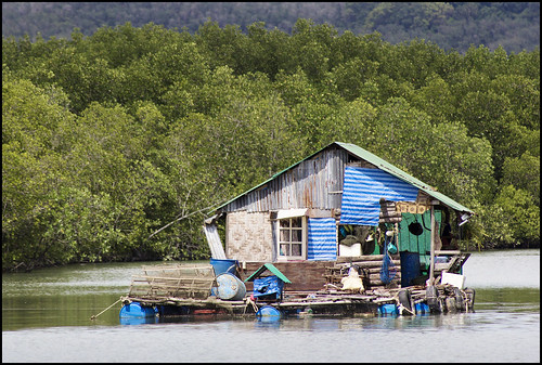 Fisherman's floating house at Bang Rong, Phuket