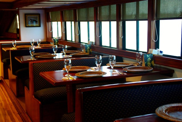 dining room on galapagos cruise