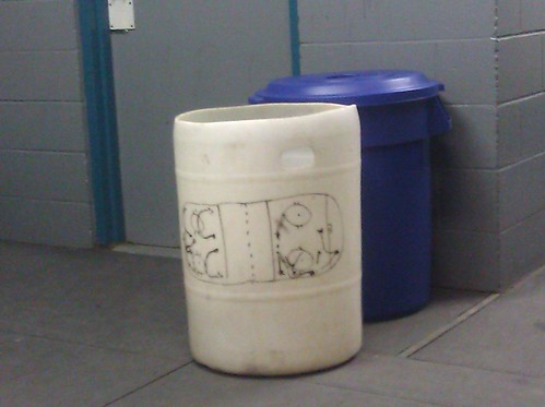 No chalkboard or whiteboard? Be industrious! Use a trash bin! #hockey