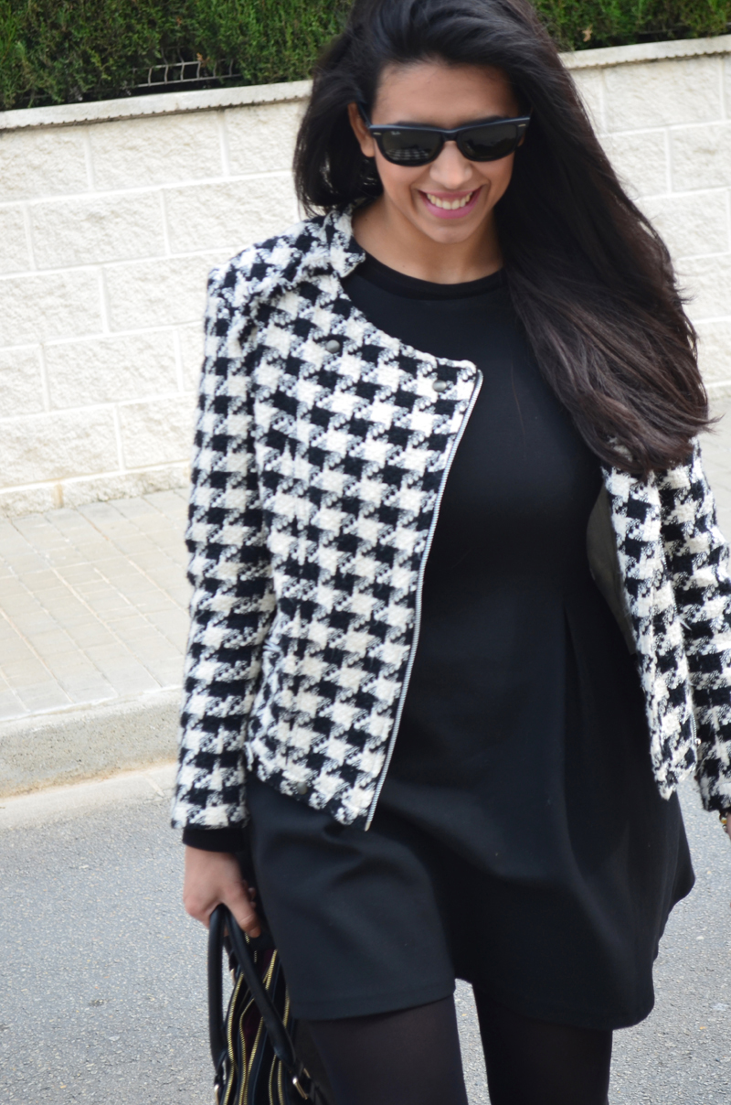 florenciablog tweedjacket estampado pata de gallo little black dress LBD mocasines zara