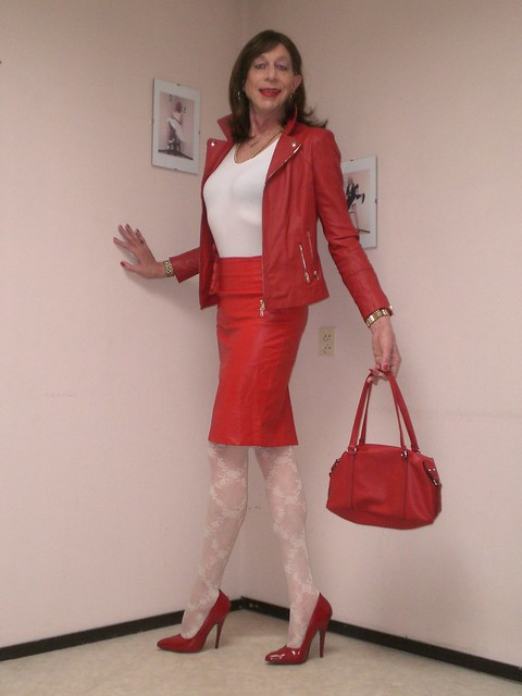 Red leather outfit.
