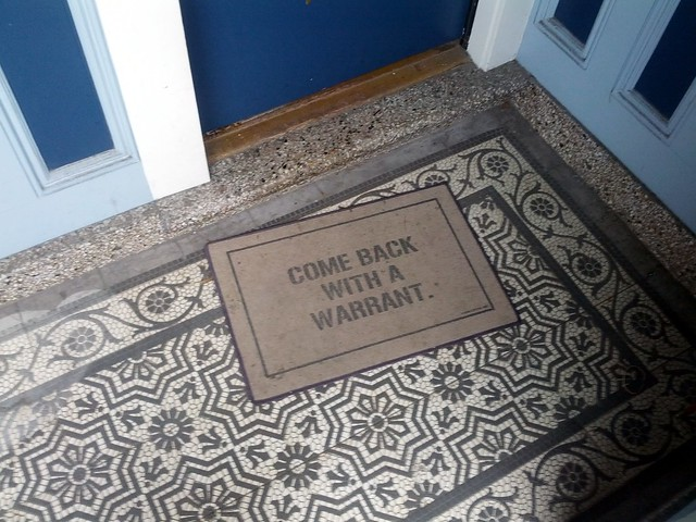 Come Back With a Warrant doormat, Cindy's place, Noe Valley, San Francisco, CA