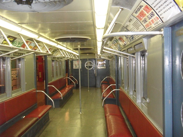 old subway car with padded red seats and air conditioning flickr photo sharing. Black Bedroom Furniture Sets. Home Design Ideas