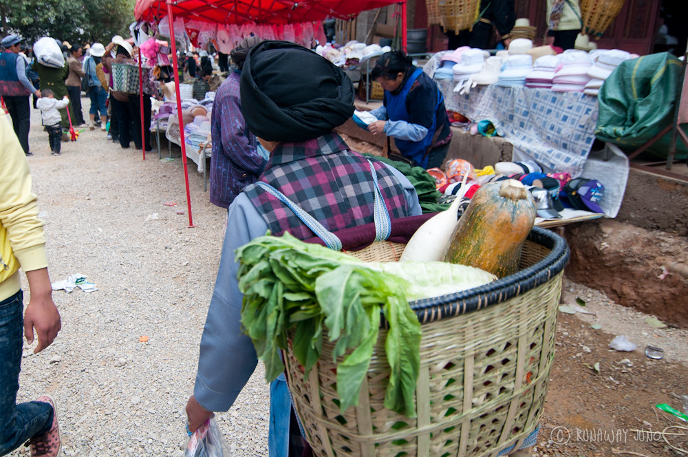Shopping with the basket in Shaxi