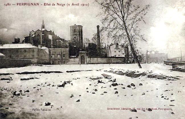 chute de neige à Perpignan le 2 avril 1910 météopassion