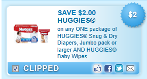 Huggies Snug & Dry Diapers, Jumbo Pack Or Larger And Huggies Baby Wipes  Coupon