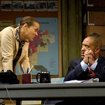 Mame Wilks (Michole Briana White, l.) advises her husband, real estate developer and potential mayoral candidate Harmond Wilks, on the serious aspects of his political campaign in the Huntington Theatre Company's production of August Wilson's <i>Radio Golf</i> at the Boston University Theatre. Part of the 2006-2007 season. Photo: Eric Antoniou.