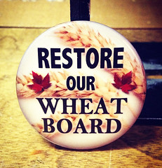 Hot Topic Buttons; Restore our Wheat Board.