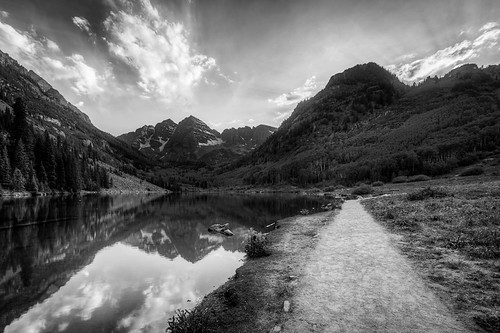 sunset sky blackandwhite bw sun white lake black mountains reflection water monochrome clouds landscape colorado path smooth trail rockymountains rays wilderness aspen hdr highdynamicrange snowmass sunbeams hdri maroonbells maroonlake marooncreek maroonvalley
