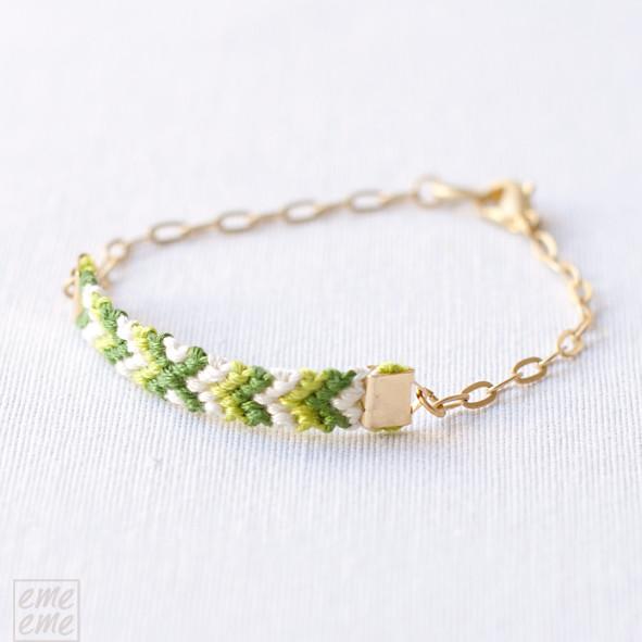 Friendship, Bracelet,gold ,chain,green,yellow,emeeme,pulsera,amistad,cadena,dorada,nudos,macrame,knot,verde, amarillo,etsy