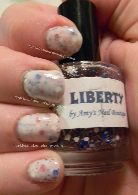 Amy's Boutique Liberty over Essie Marshmellow