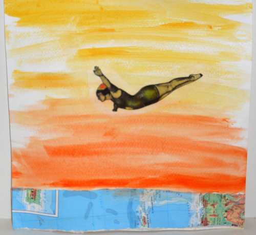 "8""x8"" Original collage on paper-""The Diver"" by Lynne Larkin"