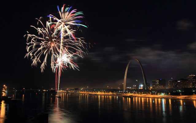 Fireworks from Eads Bridge