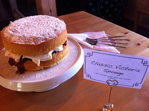 A vicky sponge waiting to greet our guests...