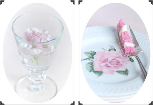rose and cake collage
