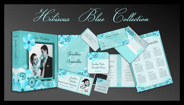 Aqua Blue Floral Wedding Stationery Collection
