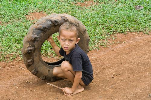 Tyre + stick = fun