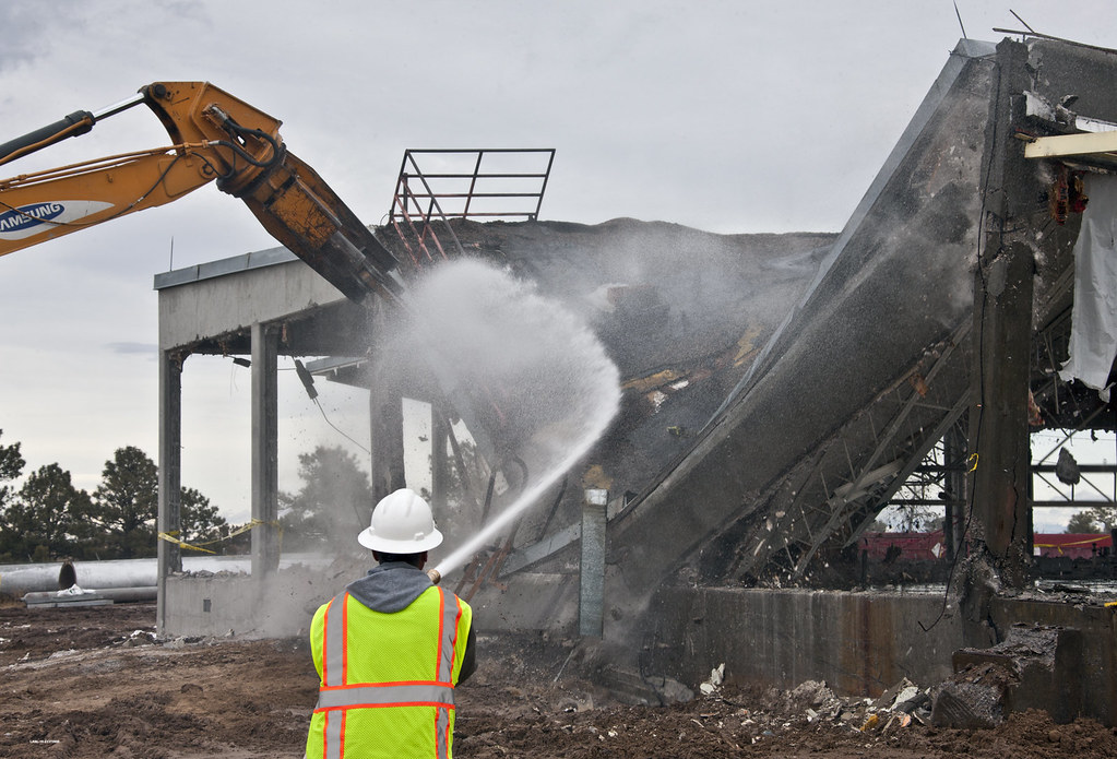 Water sprayed during demolition to protect air quality