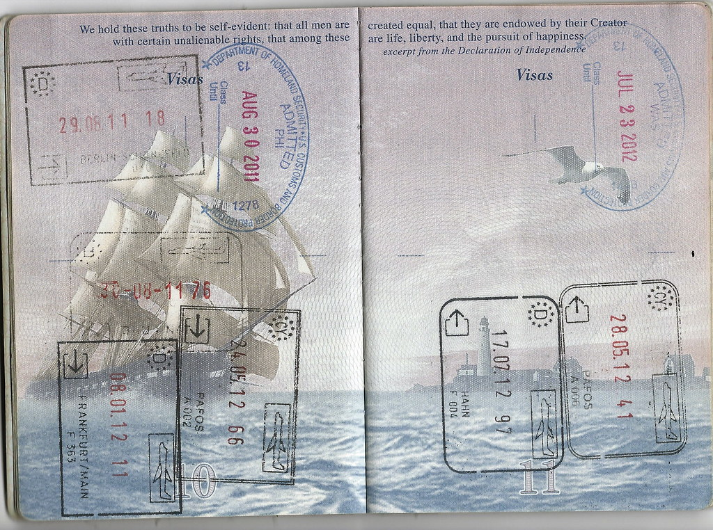 Passport EU US Entry And Exit Stamps