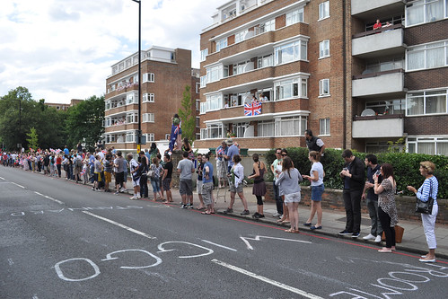 Crowds on Upper Richmond Road